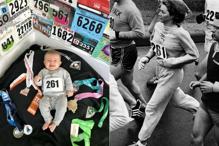 Baby Liberty as Kathrine Switzer, American marathon runner, author and television commentator.