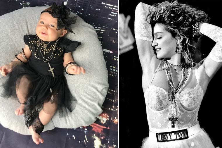 """Baby Liberty dressed as the \""""Queen of Pop\"""" -- singer, songwriter and producer Madonna."""