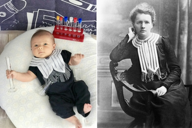 Baby Liberty as physicist, chemist and Nobel Prize winner Marie Curie, who conducted pioneering research on radioactivity.