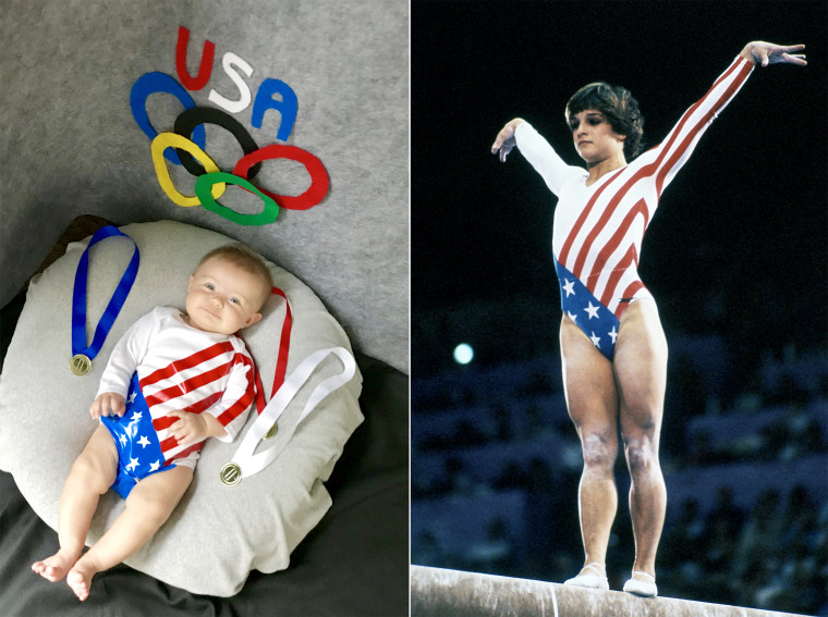 Baby Liberty as retired Olympic gymnast Mary Lou Retton.
