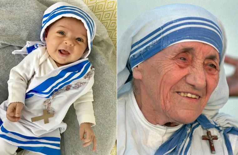 Baby Liberty dressed as Mother Teresa of Calcutta, catholic nun and saint.