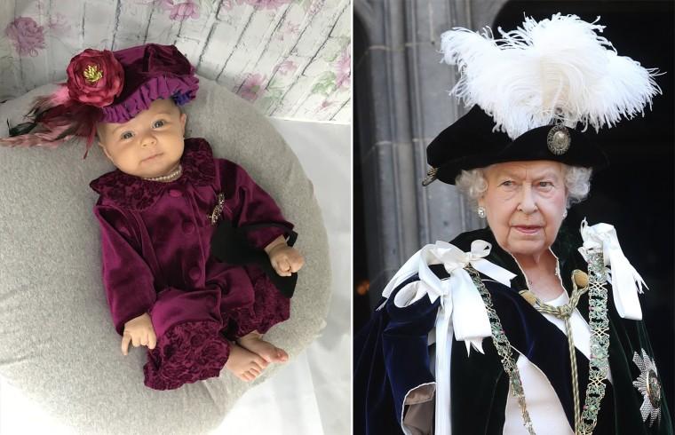Baby Liberty dressed as the United Kingdom's Queen Elizabeth II.
