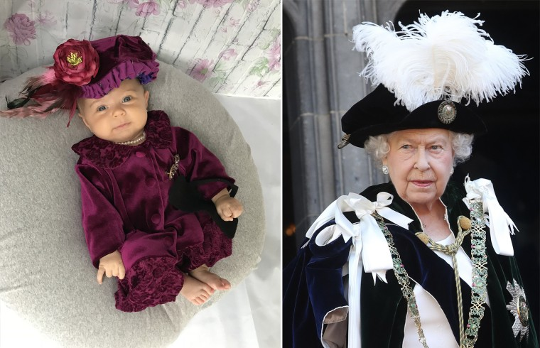 Baby Liberty dressed as the United Kingdom's Queen Elizabeth II.