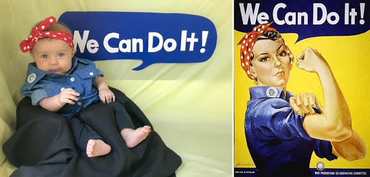 Liberty as Rosie the Riveter, the cultural icon from World War II who represented female factory and shipyard workers.