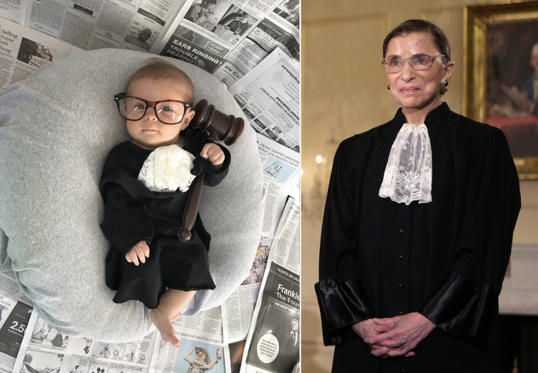 Baby Liberty dressed as Supreme Court justice Ruth Bader Ginsburg.