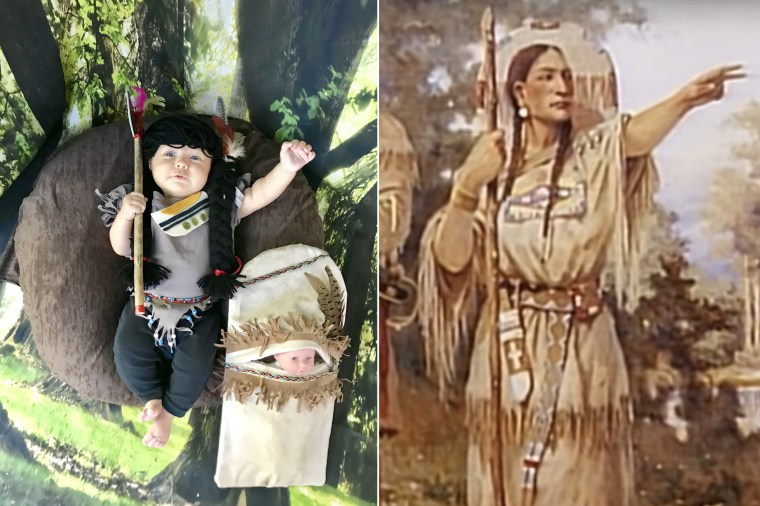 Baby Liberty dressed as Sacagawea, the Native American woman known for helping with the Lewis and Clark Expedition.