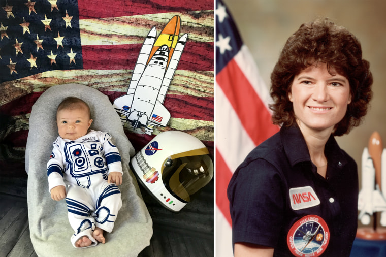 Baby Liberty as Sally Ride, an astronaut who became the first American woman in space in 1983.