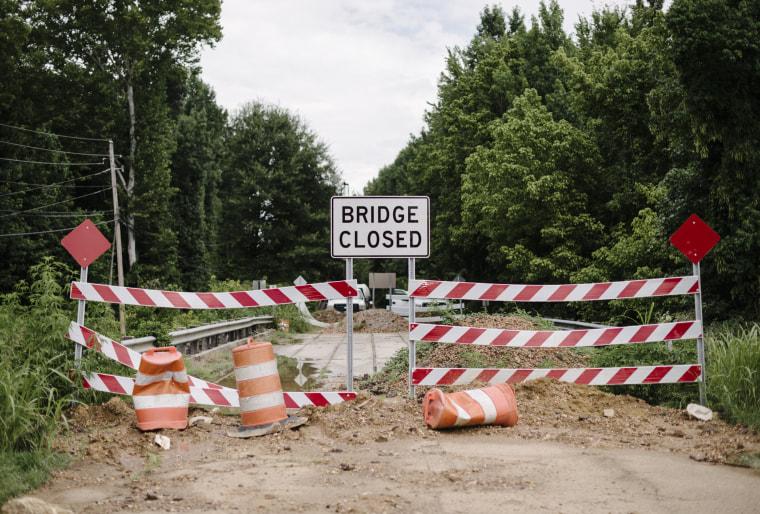 Image: A bridge closure near the Western Hills neighborhood in Jackson