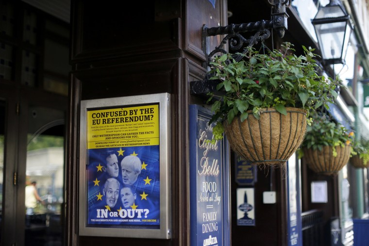 Image: A poster about Brexit outside a J.D.Wetherspoon pub in Dover, England.