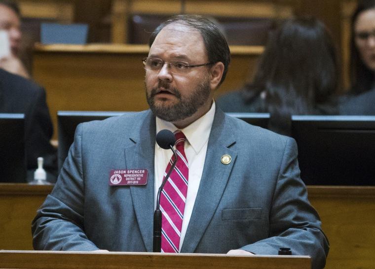 Rep. Jason Spencer speaks at the Georgia State Capitol in Atlanta in February.