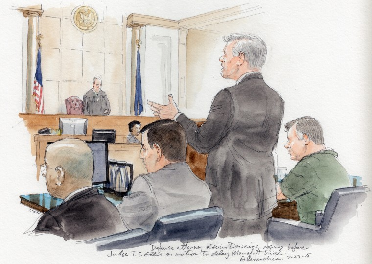 Image: Defense attorney Kevin Downing, standing, argues before judge T.S. Ellis on a motion to delay Paul Manafort's trial