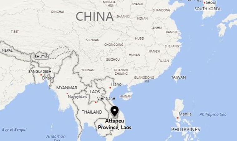 Image: A map showing the location of Attapeu province in Laos