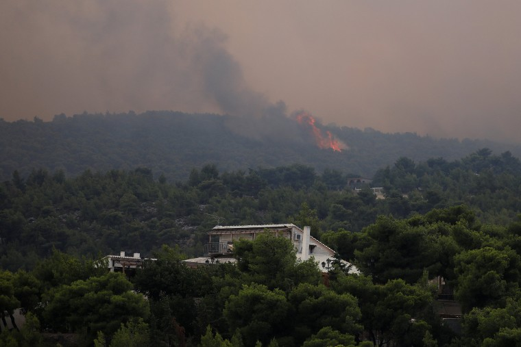 Image: Wildfire burns in Kineta, near Athens