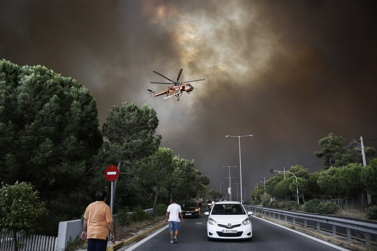 Image: Wildfire in Penteli Mountain in Athens