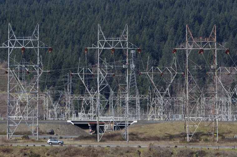 Power lines carrying electricity from the Bonneville Dam