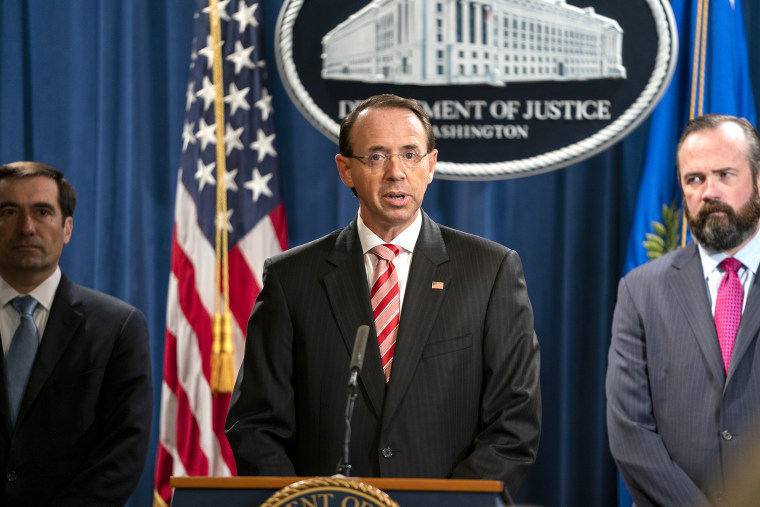 Image: Deputy AG Rosenstein announces Russia indictment at Justice Department