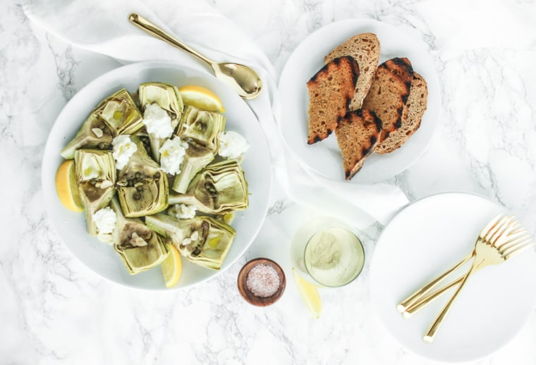 Artichokes with White Wine, Capers and Burrata make for a light, healthy appetizer for a summer gathering.