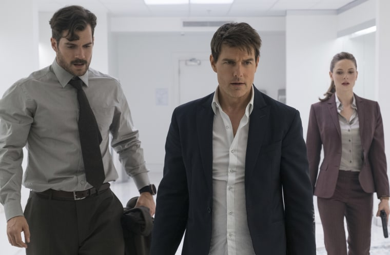 "Henry Cavill, from left, Tom Cruise and Rebecca Ferguson in a scene from ""Mission: Impossible - Fallout."""