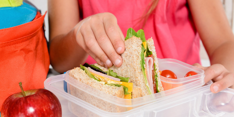 Child's lunch in plastic container