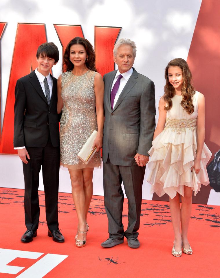"Michael Douglas, Catherine Zeta-Jones and their children at ""Ant-Man"" premiere"