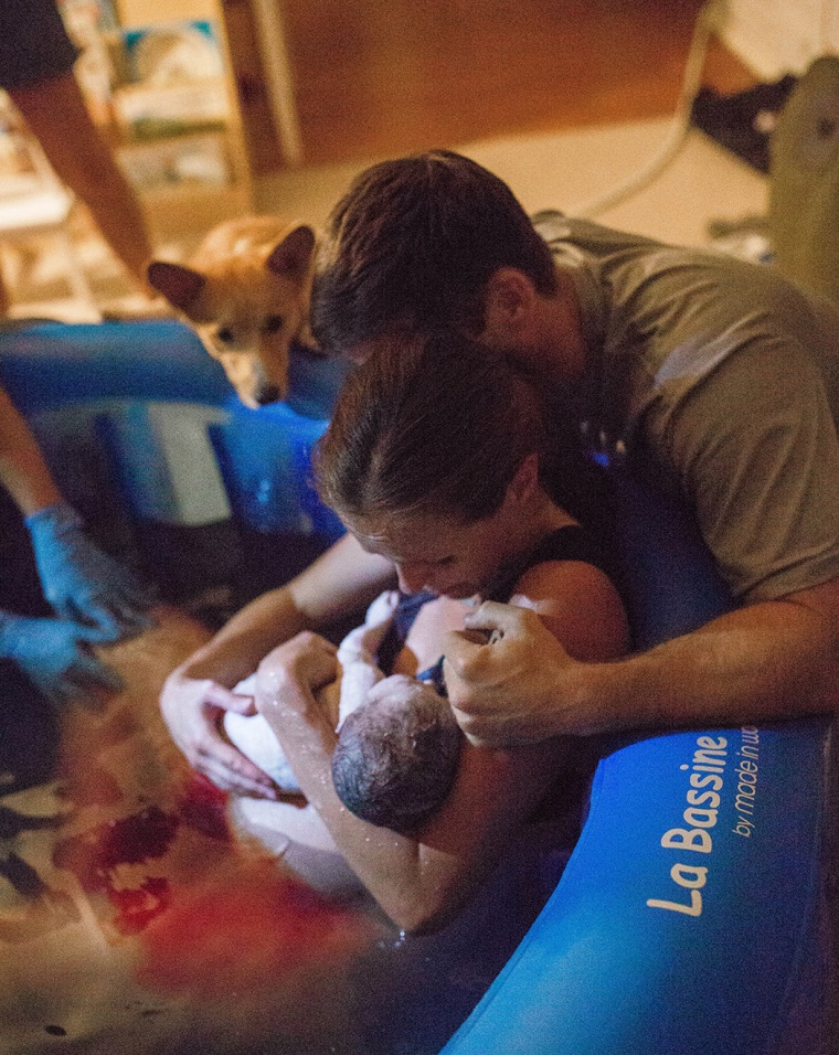"""You could tell he loves her more than anything and wanted to help her through her labor,"" said Waner of the pup."