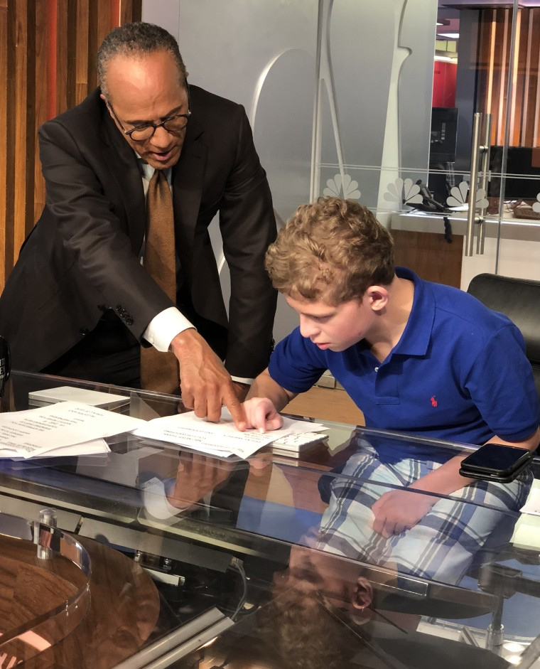 Lester Holt meets 14-year-old fan Hunter Goldbach, who has rare genetic disorder