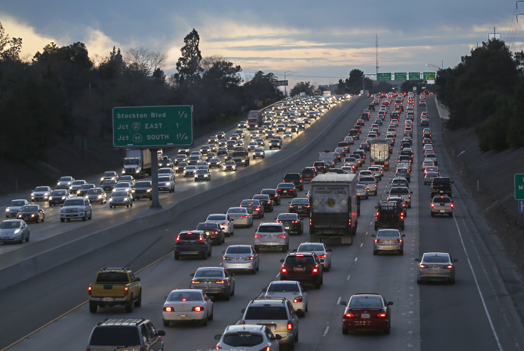Image: Evening rush hour traffic fills Highway 50 in Sacramento