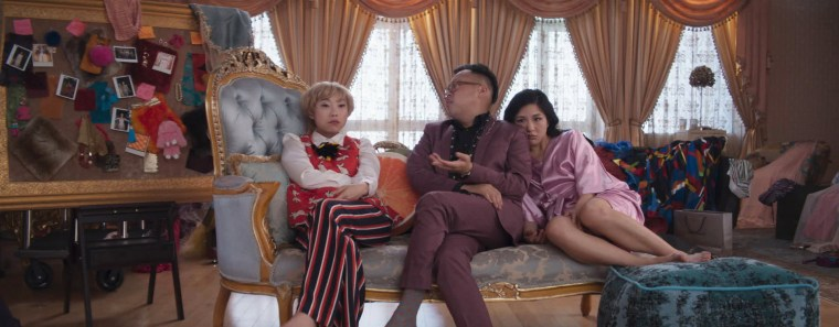 Image: Awkwafina as Peik, Nico Santos as Oliver and Constance Wu as Rachel