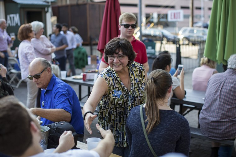 Image: Lupe Valdez, the Democratic nominee for governor of Texas, at a Texas Democratic Party event at Scholz Garten in Austin, Texas