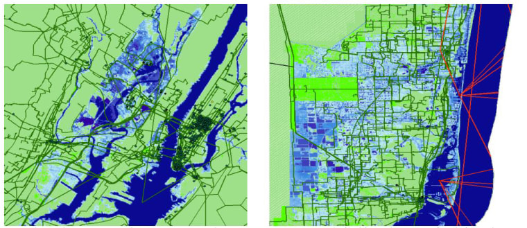 Overlap of internet infrastructure and seawater in New York, left, and Miami with average sea level rise of 6 feet.