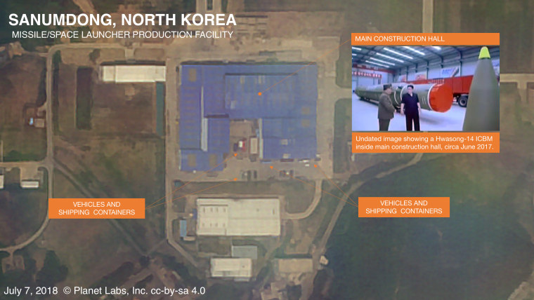 Image: An annotated satellite image North Korea's Sanumdong missile production facility on from July 7, 2018.