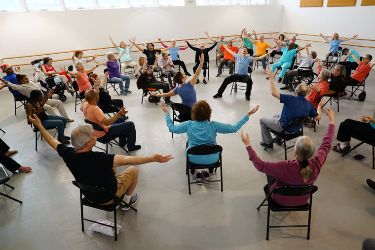A dance class for people with Parkinson's at Mark Morris Dance Center in Brooklyn, New York.