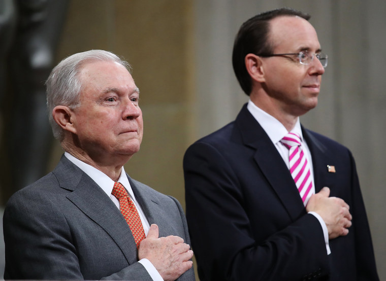 Image: Attorney General Jeff Sessions and Deputy Attorney General Rod Rosenstein