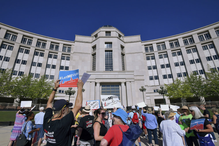Image: Demonstrators rally outside the Michigan Hall of Justice in Lansing