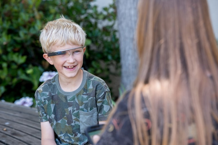 Alex talks with his mother, Donji Cullenbine, while wearing Google Glass.