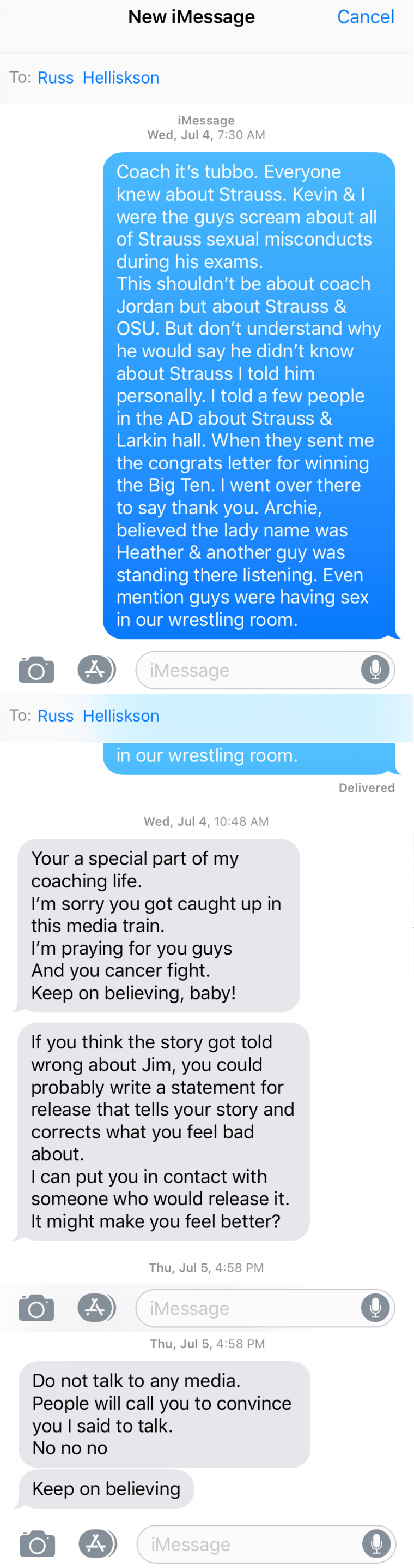 Screen grabs of text messages provided by Dunyasha Yetts.