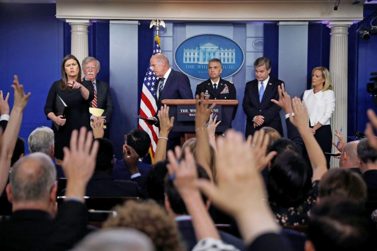 Image: U.S. national security, intelligence and law enforcement officials give briefing at White House in Washington