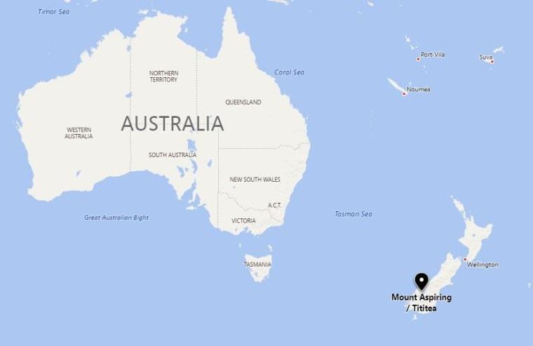Image: Map showing New Zealand's Mount Aspiring