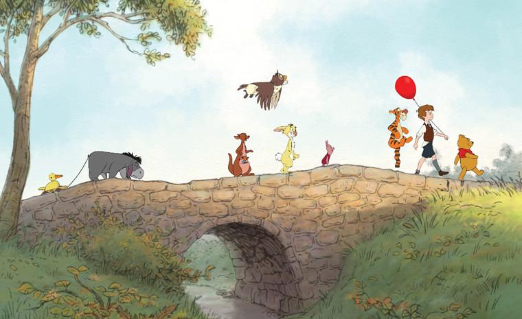 Image: Eeyore, Kanga, Roo, Owl, Rabbit, Piglet, Tigger, Christopher Robin, and Winnie the Pooh.