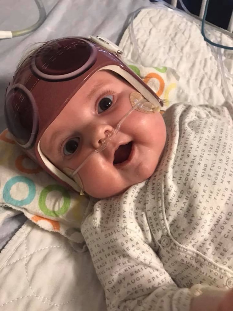 Since his transplant, Jack Palmer has quickly developed. HIs mom, Tiffany, noticed how pink he is now that he has healthy heart and lungs.