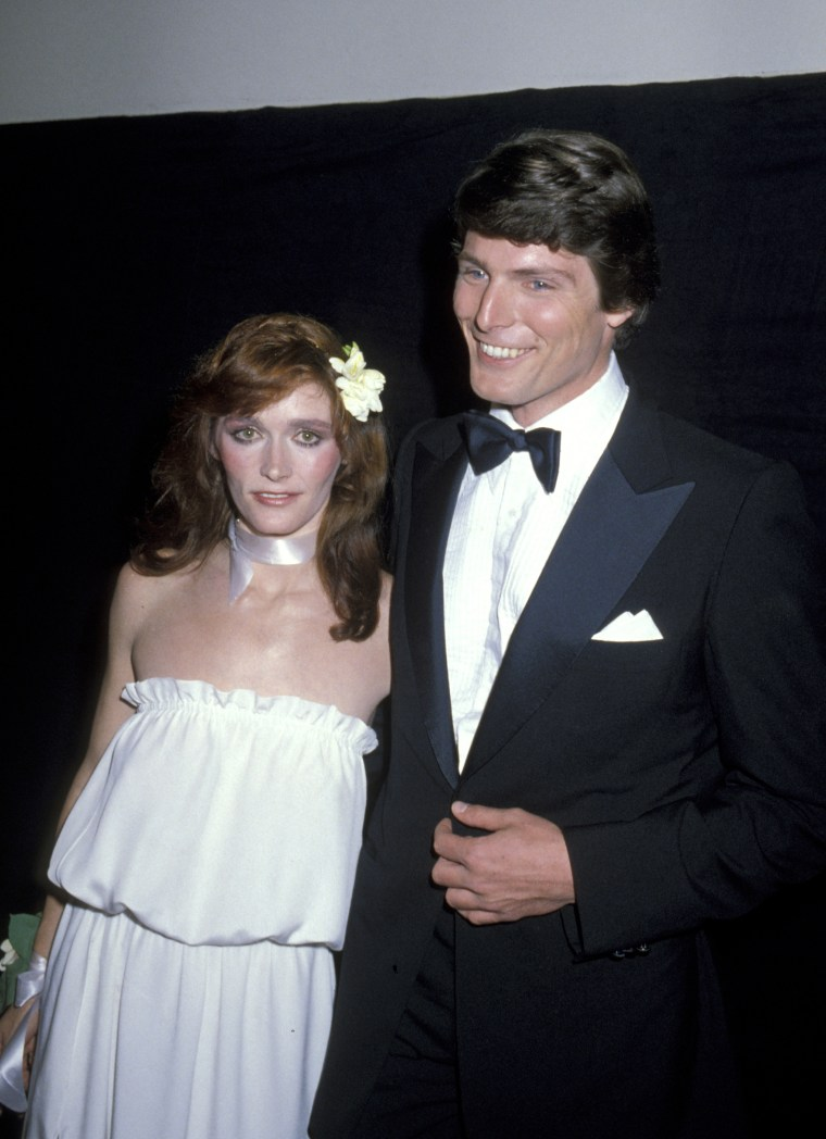 "Margot Kidder and Christopher Reeve in 1978 during the ""Superman"" premier at The Kennedy Center in Washington, D.C."