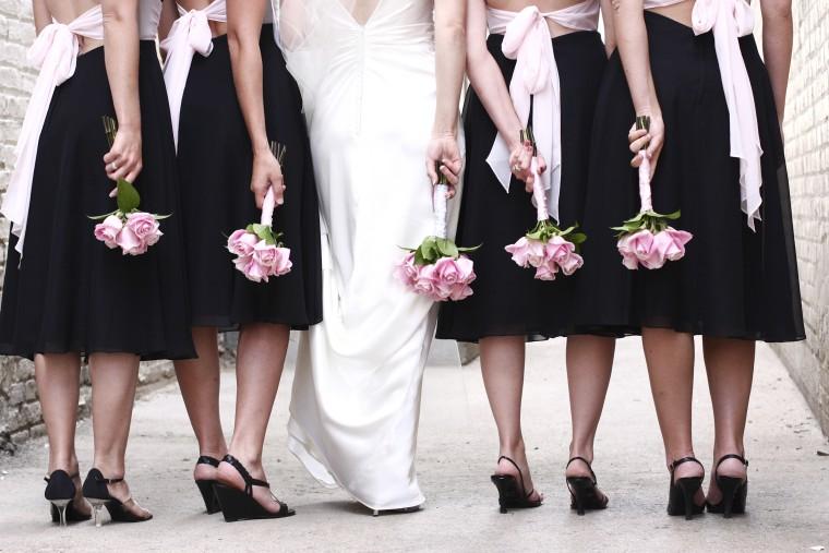 still standing shoe spray bridesmaids