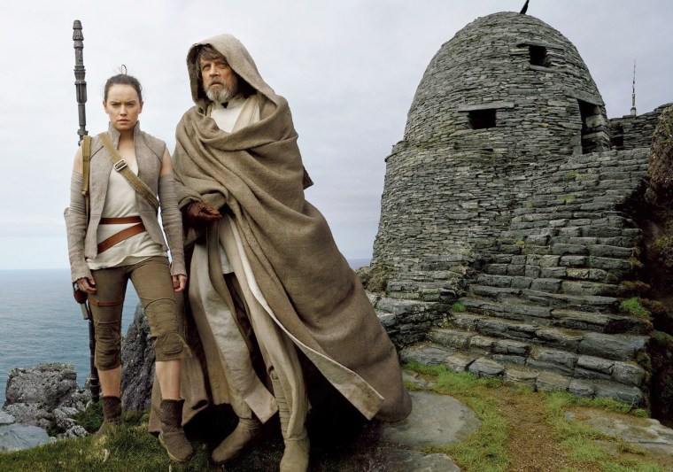 """Image: Daisy Ridley and Mark Hamill in \""""The Last Jedi.\"""""""