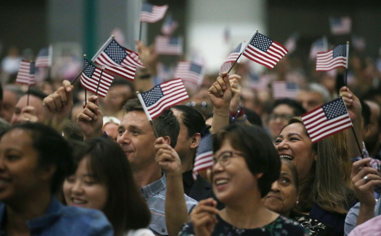 Image: Thousands Of Immigrants Become U.S. Citizens During Naturalization Ceremony At Los Angeles Convention Center