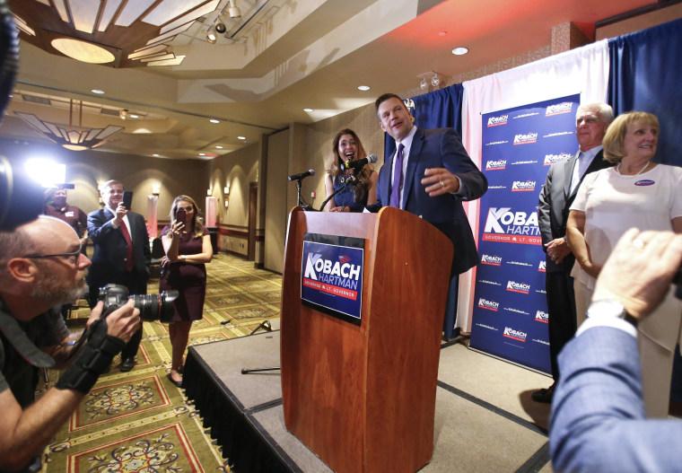 Image: Kansas Republican gubernatorial candidate Kris Kobach