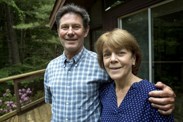 Bea and Doug Duncan at their home in Natick, Mass. The couple helped their son recover from an opioid addiction.
