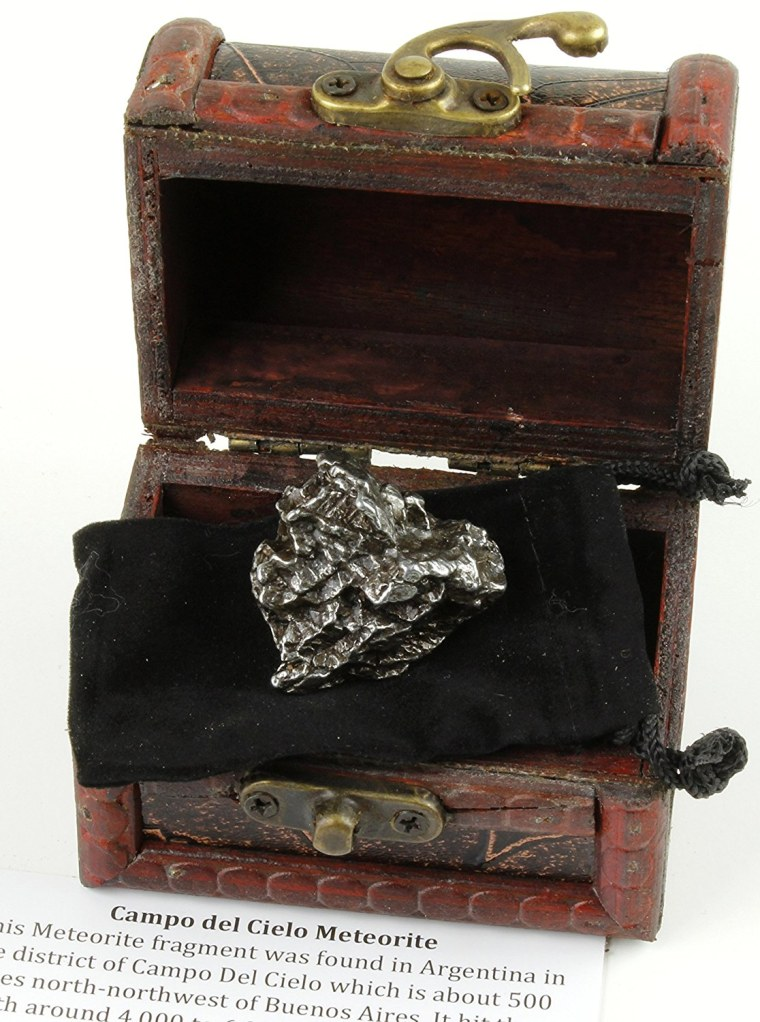 Authentic Extra Large Massive 40-60 grams Meteorite, BONUS Treasure Chest Box, Display Case, Velvet Pouch, Education Card & Certificate of Authenticity