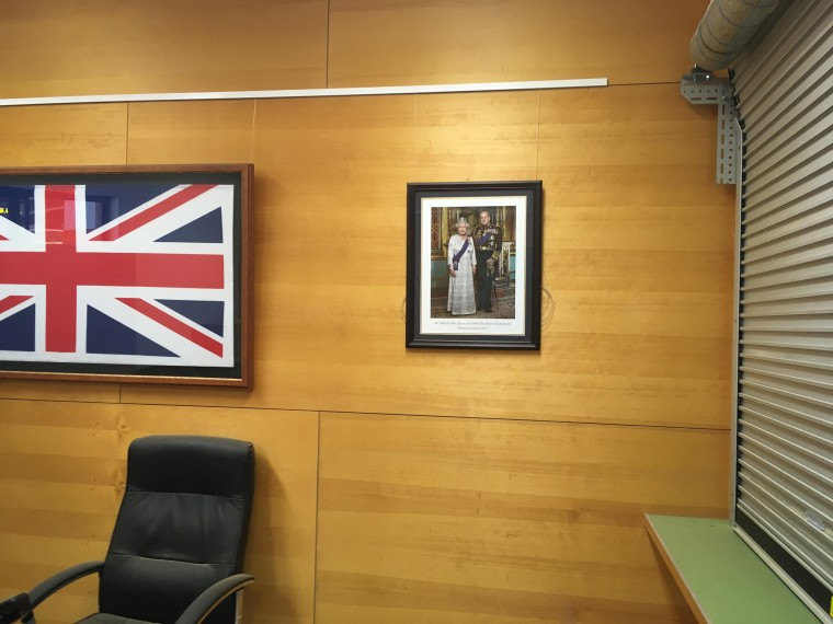 Framed photo of Queen Elizabeth II and Prince Philip, in community centre in outback town of Birdsville, Australia.