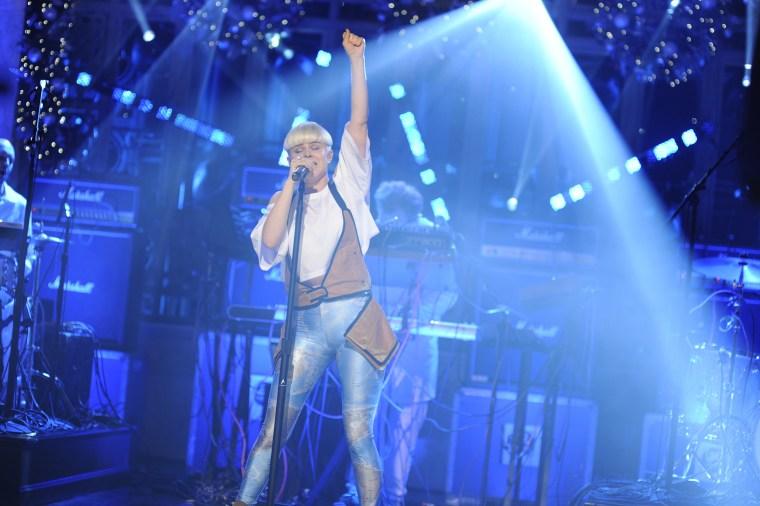 Robyn performs on Saturday Night Live on Dec. 10, 2011.