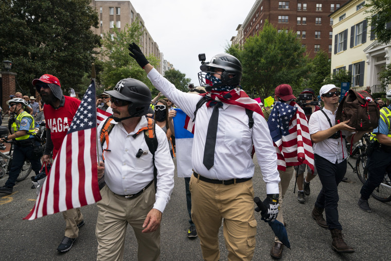 Image: White supremacists march on anniversary of Unite the Right rally in DC